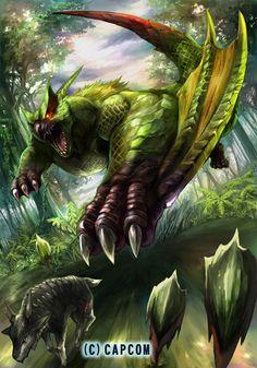 El Nargacuga Verdoso, subespecie de Nargacuga de pelaje moteado que le permite confundirse con el follaje de zonas verdosas como el Bosque inundado o la Isla Desierta. Controla su cola a la perfección. Se dice que sus púas son mortíferas.