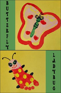 Footprint Ladbug & Butterfly Kids Craft #SpringGummyLump