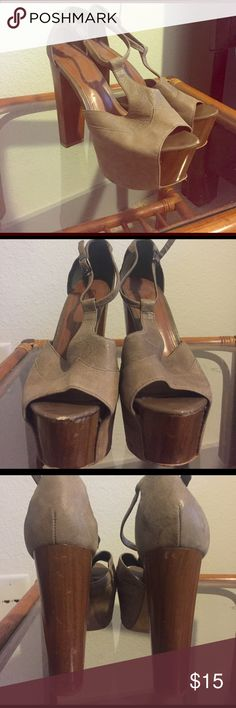 Jessica Simpson wood pumps My favorites to walk in. The soles a a bit banged up and the toe area. The heels are okay condition. Leather upper Jessica Simpson Shoes Heels