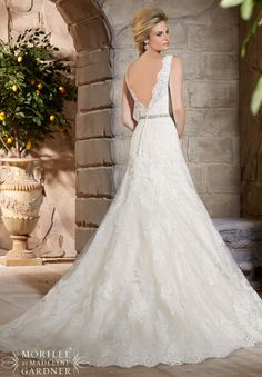 Wedding Dresses 2783 Alencon Lace Appliques on Net with Wide Scalloped Hemline Lace
