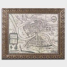 Trademark Fine Art Map of Briston 1581 inch Canvas Art by Braun Hogenberg, Gold Ornate Frame, Size: 16 x 20