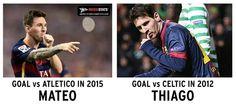 Messi dedicating goals to his sons Thiago and Mateo. (Via: @MessiStats)