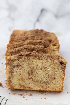 Easy Cinnamon Sugar Quick Bread is moist, fluffy and swirled with a buttery cinnamon and brown sugar streusel. #cinnamonbread #cinnamonswirlbread #quickbreadrecipe #easycinnamonbread Quick Bread Recipes, Banana Bread Recipes, Cinnamon Sugar Bread, Italian Easter Bread, Sweet Bread, Coffee Cake, Bread Baking, Brown Sugar, Breads