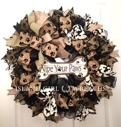 Wipe Your Paw Wreath Dog Wreaths Dog Wreath Burlap Dog Fall Wreaths, Mesh Wreaths, Christmas Wreaths, Dog Wreath, Wreath Burlap, Printed Ribbon, Wreath Forms, Island Girl, Different Patterns