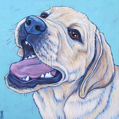 """Lily-Bjork the Yellow Lab Puppy Dog Custom Pet Portrait Memorial Painting in Acrylic on 8"""" x 8"""" Canvas from Pet Portraits by Bethany."""