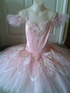 Aurora's Birthday variation tutu by Margaret Shore. Pink shot taffetta silk with ivory and gold laces and braids.