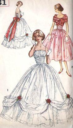 1950s Junior Evening Dress Evening Gown Prom Dress, Wedding Dress