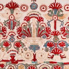 #silk #embroidery from #Crete #Aegean #crossroads #textilemuseum #greekislands #traditional #flowerpetals #18thcentury