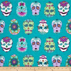 Day Of The Dragonfly Sugar Skulls Blue/Multi from @fabricdotcom  Designed by Kristin Omdahl for Blank Quilting, this cotton print collection merges Day of the Dead themes with flowers and dragonflies. Perfect for quilting, apparel, and home decor accents. Colors include shades of teal, orchid, magenta, white, green, yellow, and white.