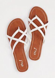 White Strappy Flip Flops