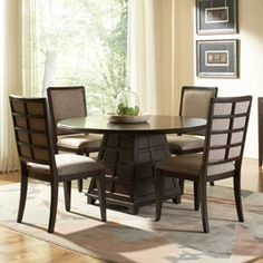 @Overstock - This upscale urban Quinn dining set will be the focal point of your dining room. A dark cherry finish highlights this furniture set.http://www.overstock.com/Home-Garden/Quinn-5-piece-Wood-Dining-Set/5971540/product.html?CID=214117 $1,120.99