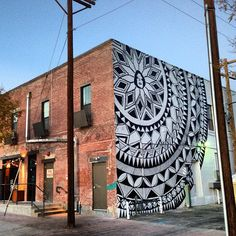EXIST1981 - Works - MURALS, EXIST81, mural, mandala, street art, patterns, triangles, public art, black and white, spray paint