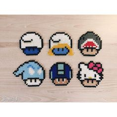 Mario mushrooms perler beads by hannah More