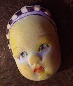 Handmade clay face baby mask child spirit woman  dolls doll