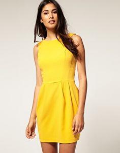 drape cowl back dress w/ strap detail. polyester.