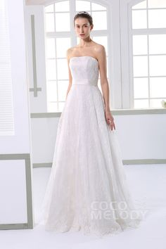Chic A-Line Strapless Natural Sweep-Brush Train Tulle and Lace Ivory Sleeveless Lace Up-Corset Wedding Dress with Appliques and Sashes JWXT1504F