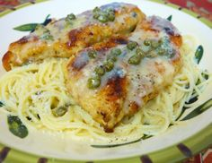 A+++!!  Chicken in Lemon Butter Caper Sauce.  Go make this right now!  The sauce is special-occasion sauce.  I made it with wild rice instead of noodles and it was delicious on top.  I also sauteed some zucchini and the sauce was wonderful with that, too.