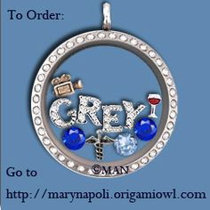 For the Greys Anatomy Fan! Origami Owl Living Locket Necklace Pendant!