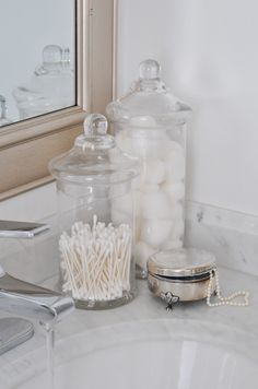 Ideas Bathroom Storage Organization Dollar Stores Apothecary Jars For 2019 Small Apartment Decorating, Decorating On A Budget, Bathroom Organization, Bathroom Storage, Organized Bathroom, Washroom, Storage Organization, White Bathroom Tiles, Master Bathroom