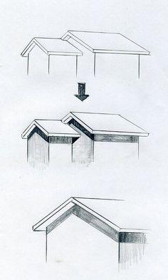 手描きパースの描き方、屋根の軒の影 l 手描きパースの描き方ブログ、パース講座(手書きパース)