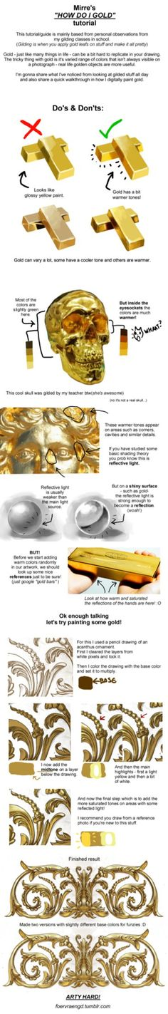 Made a tutorial yesterday on tumblr about how I approach painting gold digitally. Thought I might as well share it here on dA as well. you can find more mini-tutorials from me on my tumblr blog