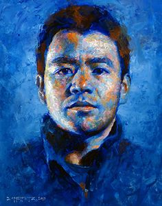 Self Portrait 2013 by David Cheifetz Oil ~ 10 x 8.  I like the use of blue and orange very much.