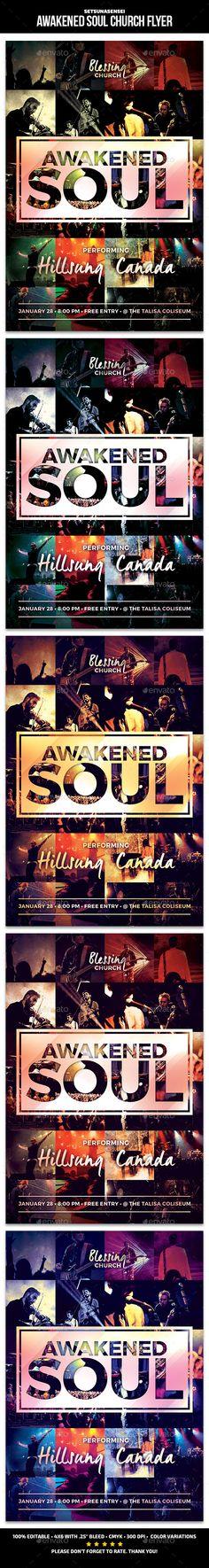 Awakened Soul Church Flyer Template PSD #design Download: http://graphicriver.net/item/awakened-soul-church-flyer/14461634?ref=ksioks