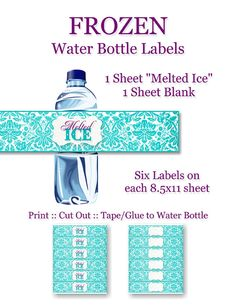 Frozen Birthday Party Water Bottle Labels  by CapturedbyJessPrints, $4.00