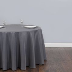 Good 120 Inch Round Charcoal Gray Tablecloth Polyester By GOLinen