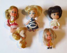 5 Tiny Dolls - Like Liddle Kiddles - 1960s 1970s