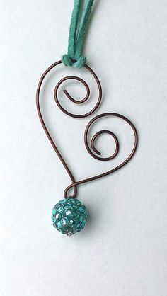 Antiqued Copper Wire Wrapped Heart and Turquoise Colored Necklace