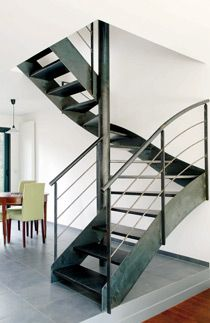 Un escalier en acier et b ton on pinterest metals photo studio and deco - Escalier interieur droit ...