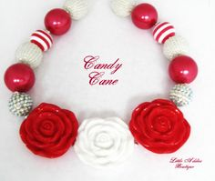 Chunky Bubblegum Beaded Necklace Red