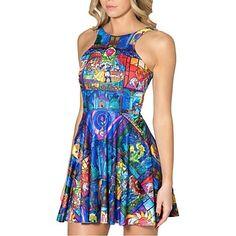 la belleza de las mujeres spandex pinkqueen® y el vestido patinador impresión bestia - EUR € 14.99