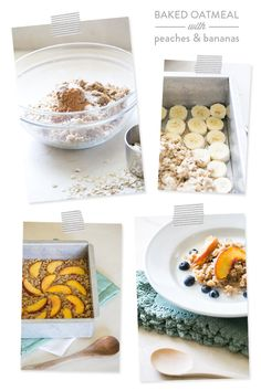 Baked Oatmeal with Peaches and Bananas - perfect for morning breakfast when hosting guests!