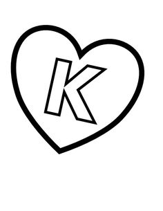Letter K In Heart Coloring Page From Valentines Day English Alphabet Letters Category Select 27237 Printable Crafts Of Cartoons Nature Animals