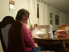 Lil' Stinker 'helping' me sew