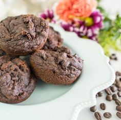 Chocolate Espresso Muffins! 2 scoops Vanilla Latte Perfect Fit Protein, 1 egg, 1 tbsp coconut oil, ¼ cup plain greek yogurt, Double shot of espresso, 1 tbsp honey, ½ tsp baking soda, ½ cup almond meal, 2 tbsp cacao powder, 3 tbsp mini dark chocolate chips. Preheat oven to 350 degrees. Mix all dry ingredients together. Add in wet ingredients and stir until fully incorporated. Fold in chocolate chips. Spray muffin tin with non-stick spray. Pour in batter. Bake 15-18 minutes. Makes 6.
