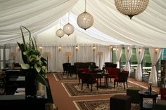 Oasis Events - white pleated linings for cheltenham jazz festival