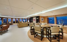 Lürssen turns fantasy into reality, creating an air of casual elegance onboard the 196 feet M/Y Solemates. Yacht Interior, Interior Design, Yacht Builders, Private Yacht, Luxury Lifestyle, Table, Furniture, Casual Elegance, Home Decor