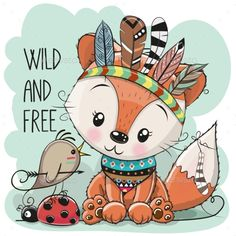 Cute tribal Fox and bird with feathers. Cute Cartoon tribal Fox and bird with feathers royalty free illustration Lion Tribal, Tribal Animals, Tribal Feather, Bird Drawings, Cartoon Drawings, Animal Drawings, Cute Drawings, Drawing Animals, Cute Fox