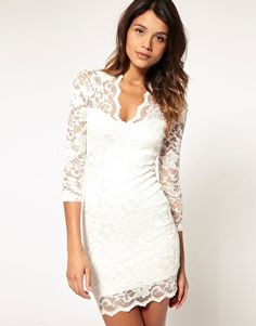 ASOS Lace Dress With Scalloped Neck  $81.81 feminine mini party dress #fashion #outfit #holiday #party #feminine #style #stylish #sexy #lace #date #clothes #new year
