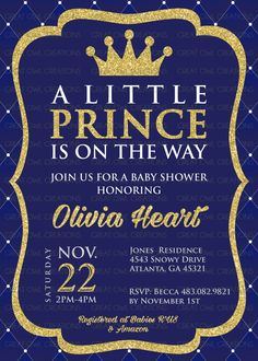 prince baby shower invitation royal prince by
