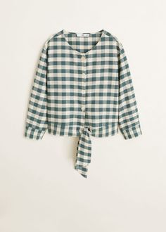 Cotton and linen mix Gingham check fabric Rounded neck Long sleeve with buttoned cuffs Button fastening on the front section Lace fastening Mango France, Check Fabric, Gingham Check, Her Style, Printed Shirts, Blouses For Women, Bell Sleeve Top, Ruffle Blouse, Long Sleeve