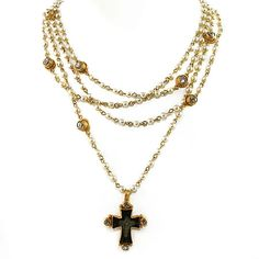 Magdalena Necklace, Gold Pearl - Diamond Crystals, Virgins Saints Angels  Love this necklace.