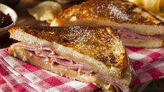 America is a land of innovation and invention, and our sandwiches are no exception. The complete list of best sandwiches is here. Monte Cristo Recipe, Monte Cristo Sandwich, French Toast Sandwich, Best Sandwich, Sliced Ham, Meat And Cheese, Wrap Sandwiches, Restaurant Recipes, Copycat Recipes