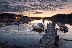 Midnight sky at the North pier in the beautiful little island of Asperö in the Gothenburg archipelago.