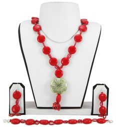 Red Button Beads Necklace