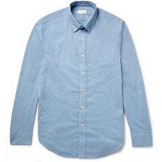 Club Monaco Slim-Fit Button-Down Collar Cotton-Flannel Shirt ($90) ❤ liked on Polyvore featuring men's fashion, men's clothing, men's shirts, men's casual shirts, blue, mens slim shirts, mens slim fit flannel shirts, mens cotton shirts and mens flannel shirts