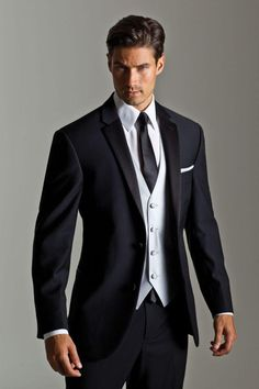 Black Tuxedo Prom Custom Made Black Wedding Suits For Men Tuxedos Notched Lapel Mens Suits Two Button Groom Suits Three Piece Suit Jacket+Pants+Vest+Tie White Tie Formal From Anniesbridal Groom Tuxedo, Tuxedo Suit, Tuxedo For Men, Black Groomsmen Suits, Black Suits, Groom Suits, Black Tie, Black Male Suit, Groom Attire